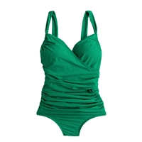 J.Crew Ruched Wrap One Piece Swimsuit Festive Green