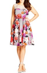 Plus Size Women's City Chic 'Pretty Posey' Belted Floral Print Fit And Flare Dress