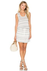 Michael Stars Stripe Linen Knit Drawstring Tank Dress White