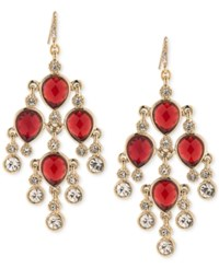 Carolee Gold Tone Red Stone And Crystal Chandelier Earrings