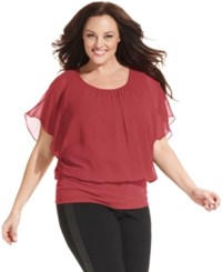 Styleandco. Style And Co. Plus Size Flutter Sleeve Banded Hem Top Dark Rose