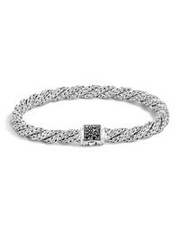 John Hardy Classic Chain Sterling Silver Lava Extra Small Flat Twisted Chain Bracelet With Black Sapphire