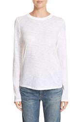 Vince Women's Long Sleeve Fitted Slub Cotton Tee Optic White