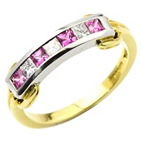 Turner And Leveridge 18Ct Yellow And White Gold Sapphire And Diamond Eternity Ring Pink Gold