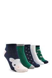 Forever 21 Ankle Sock Set 5 Pack Green Multi