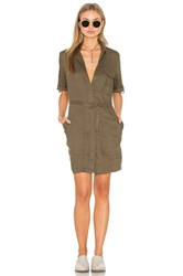Greylin Elisia Linen Shirt Dress Olive