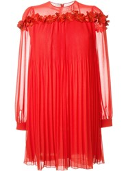 Giamba Flower Appliqua Pleated Dress Red