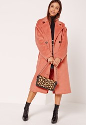 Missguided Cocoon Double Breasted Faux Wool Coat Pink Clay