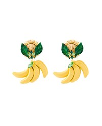 Dolce And Gabbana Crystal Embellished Banana Earrings Multi Coloured Straw Green Yellow Copper