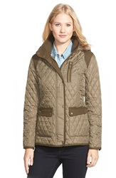Vince Camuto Mixed Media Quilted Jacket With Detachable Hood Pale Olive