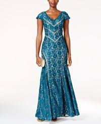 Xscape Evenings Lace Mermaid Gown Teal