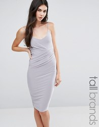 Missguided Tall Slinky Strappy Wrap Midi Dress Silver