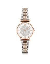 Emporio Armani Gianni T Bar Two Tone Stainless Steel Women's Watch W Crystals Dial Silver