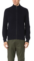 Club Monaco Merino Rib Full Zip Cardigan Bright Navy