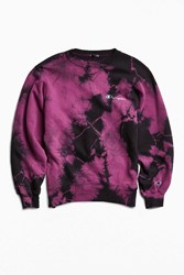 Urban Outfitters Vintage Champion Tie Dye Crew Neck Sweatshirt Purple