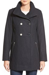 Petite Women's Guess Double Breasted Wool Blend Swing Coat Charcoal