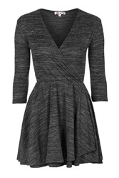 Knitted V Neck Skater Dress By Wal G Grey