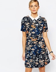 Oasis Floral Collar Shift Dress Multi Navy