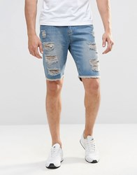 Brooklyn Supply Co. Brooklyn Supply Co Slim Denim Shorts Extreme Rips In Mid Wash Ripped Green Blue