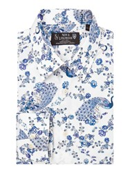 New And Lingwood Carston Floral Print Shirt White