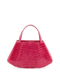 Nancy Gonzalez Crocodile East West Satchel Bag Fuchsia
