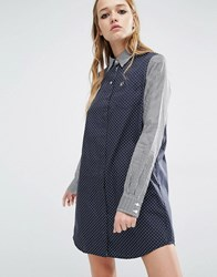 Fred Perry Gingham And Spot Shirt Dress Navy
