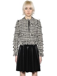 Msgm Cropped Houndstooth Fringed Jacket