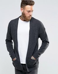 Asos Longline Lambswool Rich Cardigan Charcoal Grey