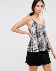 Daisy Street Cami In Snake Print With Cross Back Multi