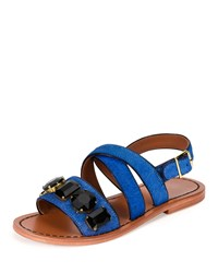 Marni Jeweled Calf Hair Flat Slingback Sandal Navy Women's
