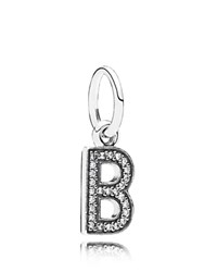 Pandora Design Pandora Pendant Sterling Silver And Cubic Zirconia Letter B Moments Collection Silver Clear