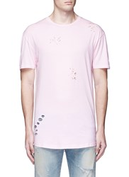 Topman Ripped Cotton Jersey T Shirt Pink