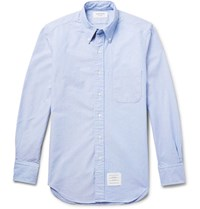 Thom Browne Slim Fit Button Down Collar Cotton Oxford Shirt Blue