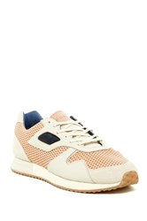 Pony Mesh Suede Calf Hair Panel Laced Sneaker Beige