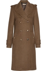 Michael Kors Double Breasted Houndstooth Wool Coat