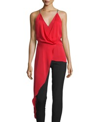 Halston Sleeveless V Neck Draped High Low Top Scarlet