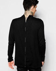 Asos Jumper With Zip Back And Funnel Neck Black