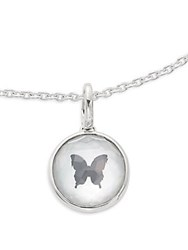 Ippolita Ippolitini Onyx Mother Of Pearl Clear Quartz And Sterling Silver Triplet Butterfly Charm Pendant