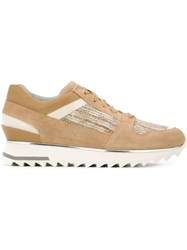 Santoni Lace Up Sneakers Nude And Neutrals