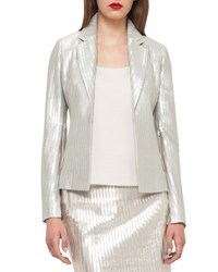 Akris Ibis Fitted Metallic Jacket Silver Ibis Silver Fitte