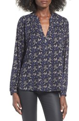 Astr Women's Pleated Blouse Navy Multi Floral