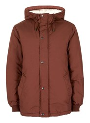 Topman Brown Cropped Faux Shearling Lined Parka