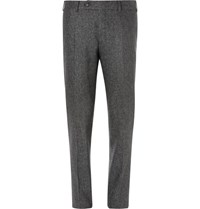 Canali Flecked Wool And Silk Blend Trousers Gray