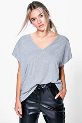 Boohoo Oversized V Neck T Shirt Grey Marl