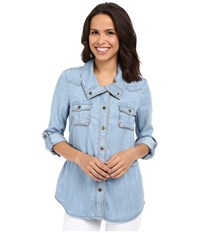 Kut From The Kloth Chase Button Up Top Light Blue Women's Long Sleeve Button Up