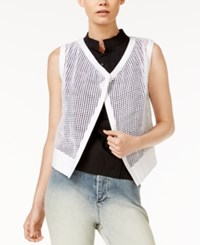 Armani Exchange Mesh Open Front Vest Solid White