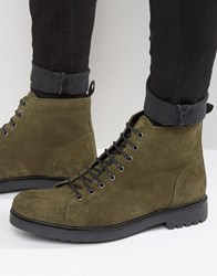 Asos Lace Up Boots In Khaki Suede With Cleated Chunky Sole Khaki Green