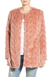 Sam Edelman Women's Tiered Faux Fur Topper Dusty Pink