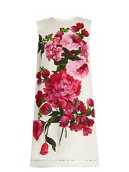 Dolce And Gabbana Floral Print Sleeveless Cady Dress White