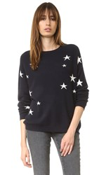 Chinti And Parker Slouchy Star Cashmere Sweater Navy Cream